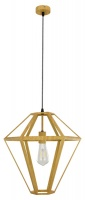 TETRA - Vintage Look 1 Light Pendant Oak Wood