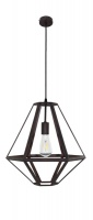 TETRA - Vintage Look 1 Light Pendant Black Wood