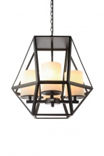 IPSWICH - Vintage Look 4 Light Pendant Matt Black