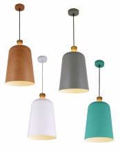 MELO - Open Top Oak - Metal Shade Pendant