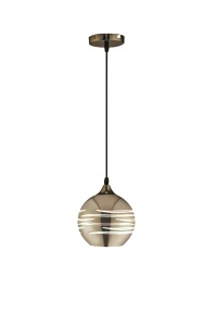 NEPTUNE - Chrome 150mm Glass Pendant - Wire Suspension