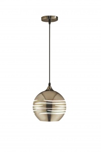 NEPTUNE - Chrome 200mm Glass Pendant - Wire Suspension