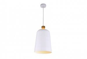 Open Oak Wood Wrap Top - Metal Shade Pendant - Gloss White