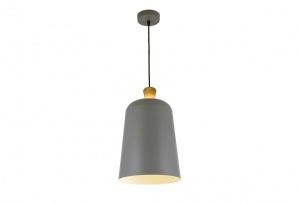 Open Oak Wood Wrap Top - Metal Shade Pendant - Grey