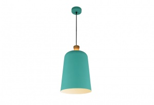 Open Oak Wood Wrap Top - Metal Shade Pendant - Duck Egg Green