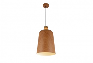 Open Oak Wood Wrap Top - Metal Shade Pendant - OAK Wrap