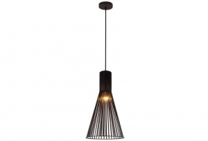 NOVO - Scandinavian Wooden Look Pendant - Small - Black Industrial Wood